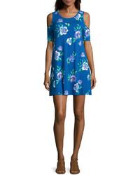 Robe trapèze à fleurs bleue