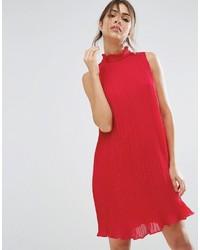 Robe trapèze en chiffon rouge