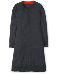 Robe trapèze en laine gris foncé