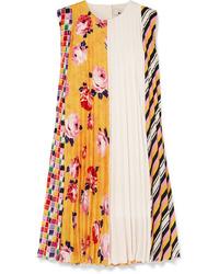 Robe trapèze imprimée jaune MSGM