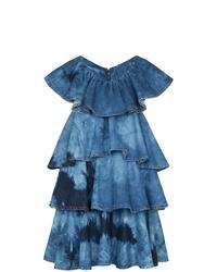 Robe trapèze imprimée tie-dye bleue MSGM