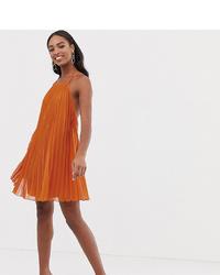 Robe trapèze plissée orange Asos Tall