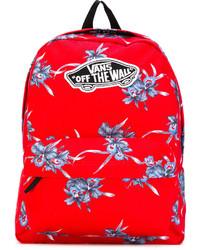 Sac à dos à fleurs rouge Vans