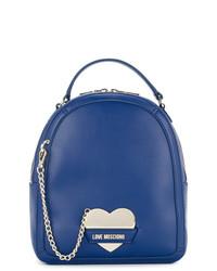 Sac à dos en cuir bleu Love Moschino