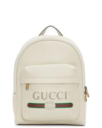 Sac à dos en cuir imprimé blanc Gucci