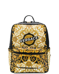 Sac à dos en cuir imprimé jaune Versace