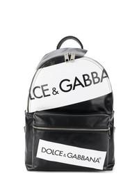 Sac à dos en cuir imprimé noir Dolce & Gabbana