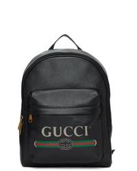 Sac à dos en cuir imprimé noir Gucci