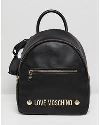 Sac à dos en cuir imprimé noir Love Moschino