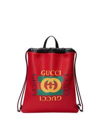 Sac à dos en cuir imprimé rouge Gucci