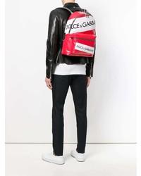 Sac à dos en cuir imprimé rouge Dolce & Gabbana