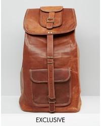 Sac à dos en cuir marron Reclaimed Vintage