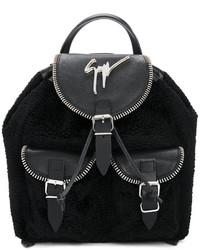Sac à dos en cuir noir Giuseppe Zanotti Design