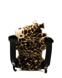 Sac à dos en fourrure imprimé léopard marron Dolce & Gabbana