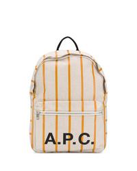Sac à dos en toile imprimé beige A.P.C.