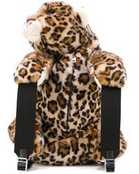 Sac à dos imprimé léopard marron clair Dolce & Gabbana