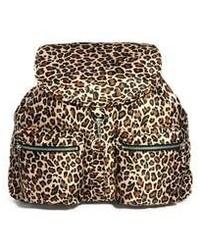 Sac à dos imprimé léopard marron