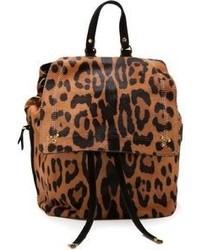 Sac à dos imprimé léopard marron Jerome Dreyfuss