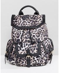 Sac à dos imprimé léopard noir Yoki Fashion