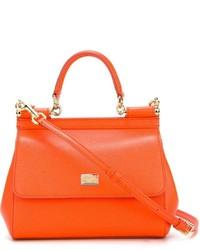 Sac à main en cuir orange Dolce & Gabbana