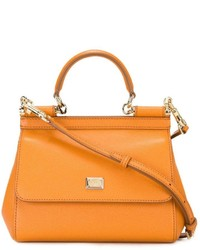 Sac à main en cuir orange Dolce & Gabbana
