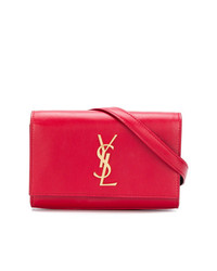 Sac banane en cuir rouge Saint Laurent