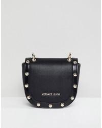 Sac bandoulière en cuir à clous noir Versace Jeans