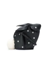 Sac bandoulière en cuir à étoiles noir Loewe