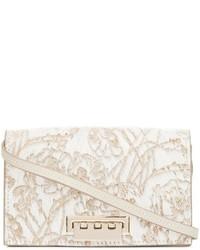 Sac bandoulière en cuir à fleurs blanc