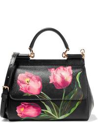 Sac bandoulière en cuir à fleurs noir Dolce & Gabbana