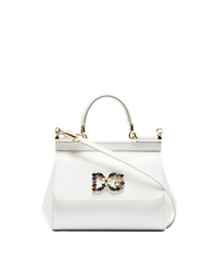 Sac bandoulière en cuir blanc Dolce & Gabbana