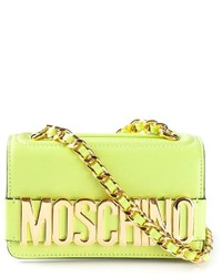 Sac bandoulière en cuir chartreuse Moschino