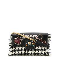 Sac bandoulière en cuir en pied-de-poule noir et blanc Dolce & Gabbana