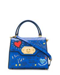 Sac bandoulière en cuir imprimé bleu Dolce & Gabbana