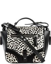 Sac bandoulière en cuir imprimé léopard blanc et noir