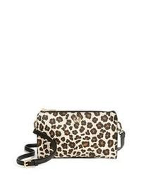 Sac bandoulière en cuir imprimé léopard marron clair