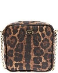 Sac bandoulière en cuir imprimé léopard marron Dolce & Gabbana