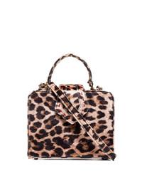 Sac bandoulière en cuir imprimé léopard marron Mehry Mu