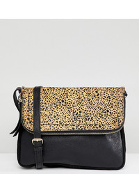Sac bandoulière en cuir imprimé léopard noir Accessorize