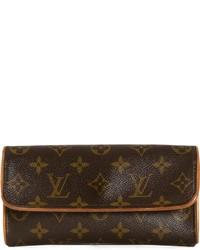 Sac bandoulière en cuir imprimé marron foncé Louis Vuitton