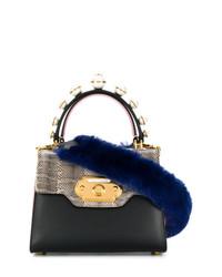 Sac bandoulière en cuir imprimé serpent noir Dolce & Gabbana