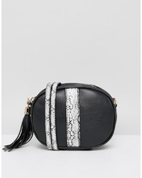 Sac bandoulière en cuir imprimé serpent noir French Connection