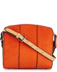 Sac bandoulière en cuir imprimé serpent orange
