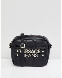 Sac bandoulière en cuir matelassé noir Versace Jeans