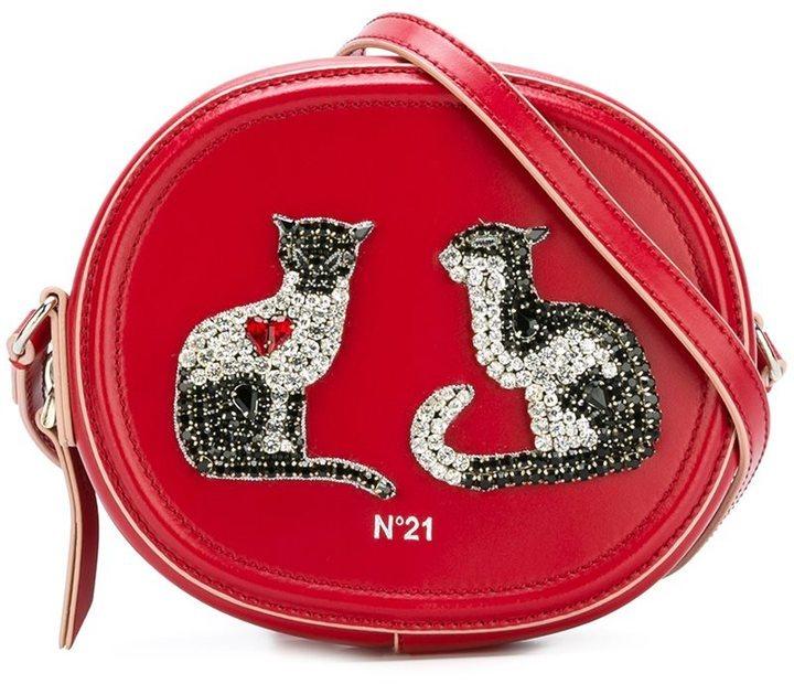 Sac bandoulière en cuir orné rouge No.21