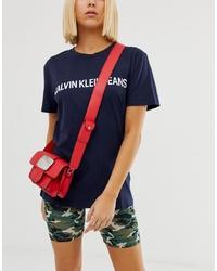 Sac bandoulière en cuir rouge Calvin Klein Jeans