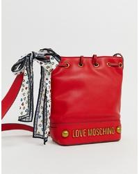 Sac bandoulière en cuir rouge Love Moschino