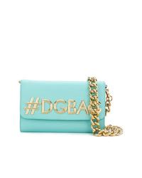 Sac bandoulière en cuir turquoise Dolce & Gabbana
