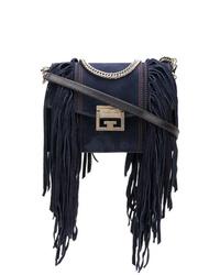 Sac bandoulière en daim à franges bleu marine Givenchy
