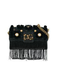 Sac bandoulière en daim à franges noir Dolce & Gabbana